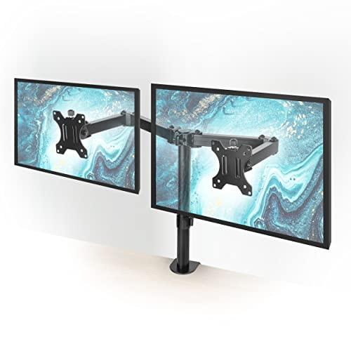 EXPERTAN   Monitorhalterung 2 Monitore [13-32 Zoll] höhenverstellbar – 90°neigbar/360°drehbar/180°schwenkbar – Vesa kompatibel 8kg pro Arm