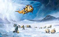 DIY 5Dダイヤモンドペインティングキット16インチ x 20インチ 雪山の上空を飛ぶヘリコプター 丸い形フルドリルクリスタルラインストーン刺繡クロスステッチアートクラフトキャンバス家の壁の装飾大人と子供のための