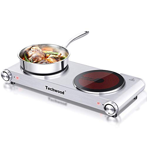 Techwood 1800W Electric Hot Plate, Countertop Stove Double Burner for Cooking, Infrared Ceramic Hot Plates Double Cooktop, Silver, Brushed Stainless Steel Easy To Clean Upgraded Version