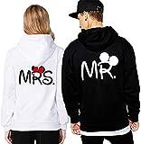 Couple Hoodie Mr Mrs Pärchen Kapunzepullover Set für Paare Couple Kapuzenpulli Pullover Sweatshirt (Weiß Damen M)