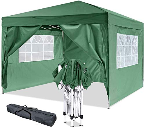 Oppikle 3x3m /3x6m Garden Gazebo Marquee Tent with Side Panels, Fully Waterproof, Powder Coated Steel Frame for Outdoor Wedding Garden Party (3 * 3/m Green)