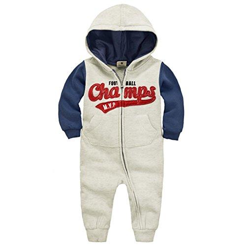 Minizone Baby Overalls mit Kapuze Maedchen Jungen Baumwolle Strampler Säugling Langarm-Body Reißverschluss