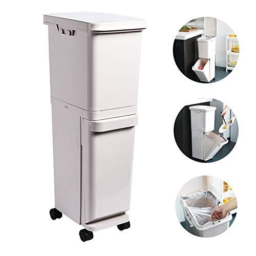 N Bote de Basura Gran Capacidad, Doble Capa Cubo de Basura con 2 Compartimentos para Reciclaje, Cubierta de plástico de Calidad, Fácil de Mover