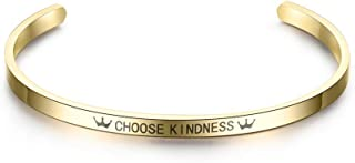 FridCy Inspirational Quotes Choose Kindness Open Cuff Cuff Stainless Steel Bangles for Women&Men Girl Bracelet