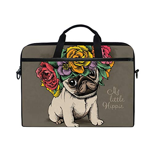 DOSHINE Laptop Bag Case Sleeve Hippie Pug Dog Flower Notebook Computer Bag for 14-14.5 inch Adjustable Shoulder Strap, Back to School Gifts for Men Women Boy Girls