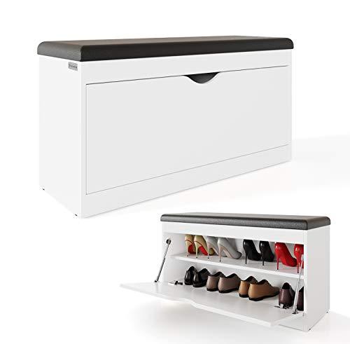 *PLATAN ROOM Schuhschrank mit Sitzfläche 100 x 53 x 35 cm Schuhbank aufklappbar Sitzkommode Weiß Eiche Gold (Weiß)*