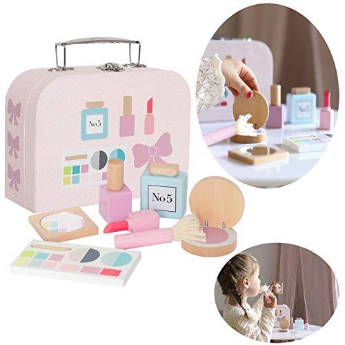 LS-LebenStil Holz Make-Up Koffer Rosa 9tlg Schmink-Set Tasche Kosmetik Beauty Spielzeug