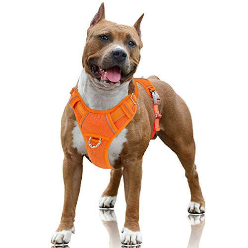 BARKBAY No Pull Dog Harness Large Step in Reflective Dog Harness with Front Clip and Easy Control Handle for Walking Training Running with ID tag Pocket(Orange,L)