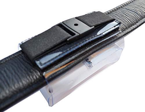 Tracker-Tasche für Halsbandbreite bis 50mm, Hochwertiger PVC, mit Klettverschluss, Zusatzsicherung, Adressfach, Hinweislabel Phone Inside!, für GPS Tracker XL 80x49x29mm