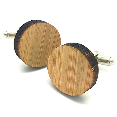 BOBIJOO Jewelry - Manschettenknöpfe aus Natürlichem Holz, Bambus, Neutral, Rund, Metall-Mann-Vintage-Top