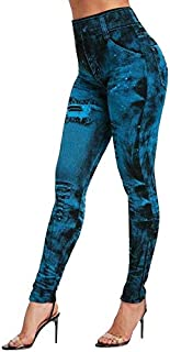 Sfit Women Gym Leggings Faux Denim Jeans Leggings Pocket Printing Leggings Casual High Waist Pencil Pants Plus Size Yoga Pants (Color : Red, Size : S)