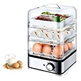 YILIAN Egg Cooker, Boiler Deluxe vapore Uovo con 3 strati Funzione Auto-Off for Extra Large uova