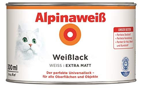 Alpina Weißlack Universallack 300 ml, Weiß, Extramatt, Holz, Metall, Kunststoff