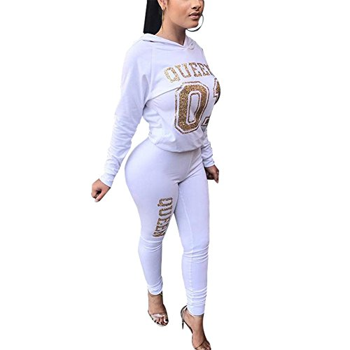 Women's 2 Piece Outfits Active Tracksuit Sweatsuits Hoodie Crop Top + Pants Set Sportswear White S