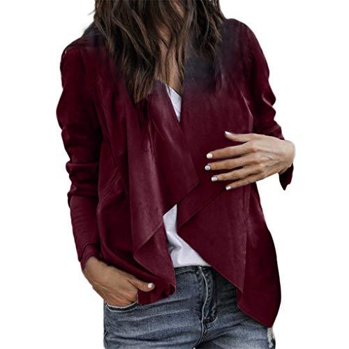 Dorical Anzug Mantel für Frauen, Damen Langarm Kunstleder Open Front Kurz Blazer Cardigan Jacke Arbeit Büro Wasserfall-Ausschnitt Asymmetrisch Jacket(Weinrot,Medium)