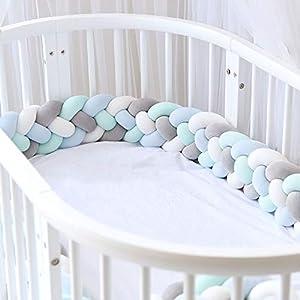 Icegrey Trenza Protector de Cuna 4 Trenzada Bebe Parachoques Cuna Protector de Cabeza para Proteger Bebe y Decorar la Cuna con Bolsa de Lavandería, Gris + Blanco + Verde + Azul, 3m