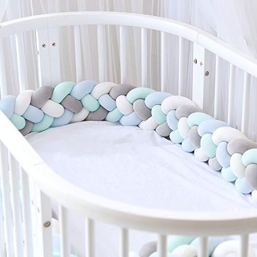 Icegrey Trenza Protector de Cuna 4 Trenzada Bebe Parachoques Cuna Protector de Cabeza para Proteger Bebe y Decorar la Cuna con Bolsa de Lavandería, Gris + Blanco + Verde + Azul, 3.5m