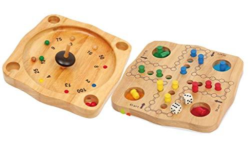 Ludo und Tiroler Roulette mit Kreisel 2 Spiele aus Holz im Set