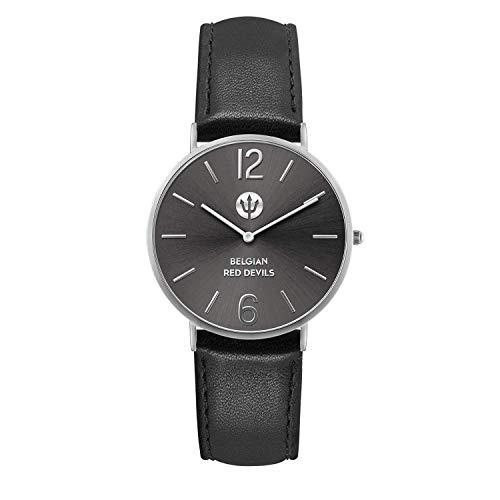 Ice-Watch - RED DEVILS zwart zilver - herenhorloge met lederen band - 016100 (medium)