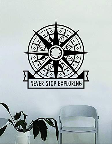 Compass Rose Never Stop Exploring - Adhesivo decorativo para pared, diseño de brújula