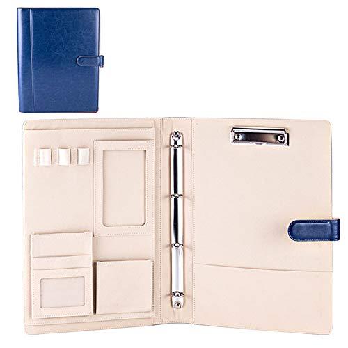 Büros - Cartella portadocumenti multifunzione, formato A4, A5, con raccoglitore ad anelli 357x254mm Blu