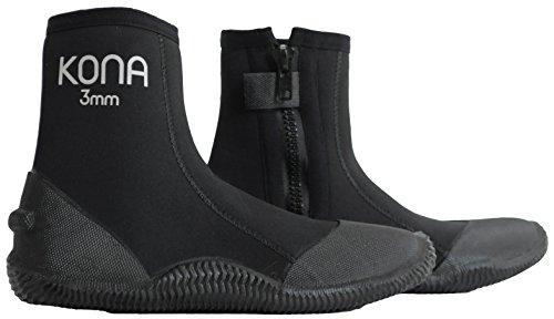 Kona 3mm Premium Double-Lined Neoprene Scuba Diving Boots with Vulcanized Grip Technology (Mens 6 / Womens 7)