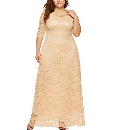 Eternatastic Womens Floral Lace 2/3 Sleeves Maxi Dress Evening Party Long Dress 4XL Beige
