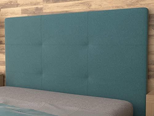 LA WEB DEL COLCHON - Cabecero tapizado Andrea para Cama de 80 (90 x 120 cms) Turquesa Textil Suave