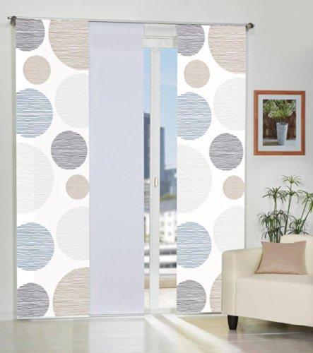 Home Fashion 3er-Set Flächenvorhänge Cirque, Deko-Stoff Blickdicht, inkl. hochwertigem Zubehör (Stein)