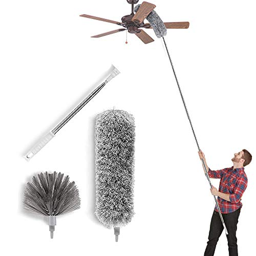 Microfiber Duste Cleaning Kit with 100 Inch Telescoping Extension Pole, Reusable Bendable Dusters, Washable Lightweight Dusters for Cleaning Cobwebs Ceilings Fans