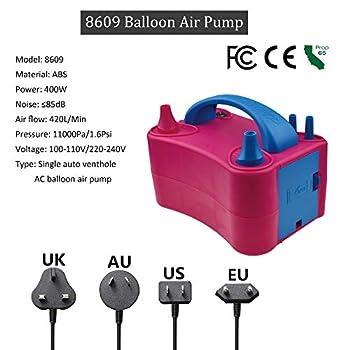 Voniry Pompe à air électrique Ballon, 220~240v 400w ?85db, Portable Double buse gonfleur/Ventilateur pour Party Decoration, 7,87 x 5,24 x 5,67 (en)