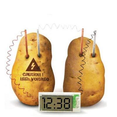 SHEEP Reloj de la mesilla de Alarma de Radio Patata Bricolaje Verde Nuevo del Kit Reloj Digital for la Educación con Pantalla LCD de 2 Pulgadas (Patata no incluida) (Blanco) El Tiempo preciso