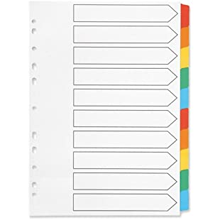 Q-Connect Index A4 Multi-Punched 10-Part Reinforced Multi-Colour Blank Tabs KF01526:Amedama