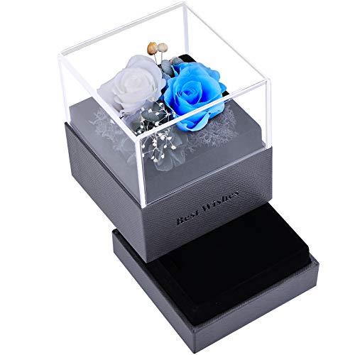 VUENICEE Rosa Eterna,Natural Rosa Eterna Roja con Caja de Regalo,Rosa Flor Fresca Hecha a Mano,para San Valentín Día de la Madre Aniversario Cumpleaños Navidad. (Azul+Blanco)