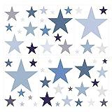 dekodino® Pegatina de pared estrellas pastel en azul y gris 50 piezas