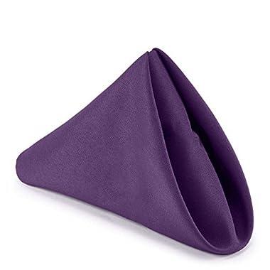 Lann's Linens - 1 Dozen 17  Cloth Dinner Table Napkins - Machine Washable Restaurant/Wedding/Hotel Quality Polyester Fabric - Purple