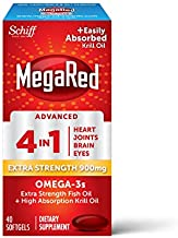 Omega-3 Fish And Krill Oil Supplement 900mg - MegaRed Advanced 4in1, 40 softgels, 2x More Omega-3, Heart, Joint, Brain and Eye Supplement