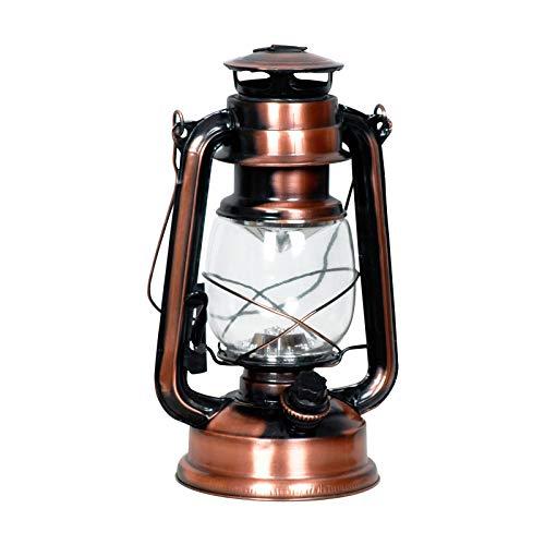Eaxus Nostalgie Retro Farol con 15 LEDs y asa giratoria en decoración vintage diseño, de cobre/bronce Colores. Ideal para decorar la casa o jardín
