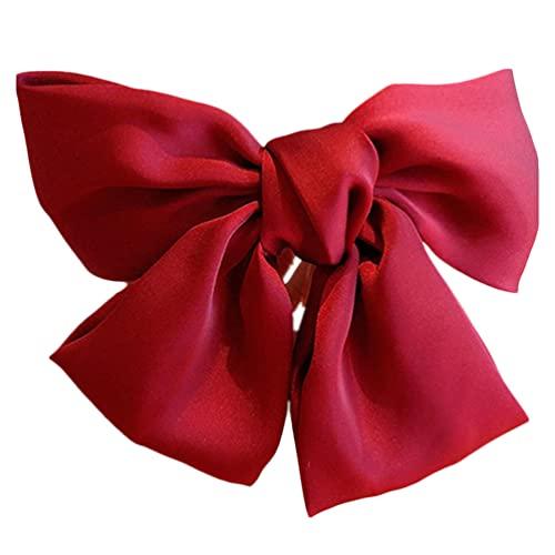 OSALADI 2 Pièces Grand Bowknot Barrette Barrette Bowknot Clip Satin Soie English Style Accessoires pour Femme (Rouge)