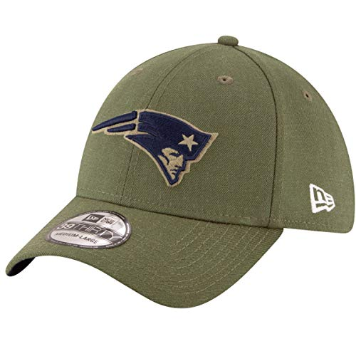 New Era New England Patriots 39thirty Stretch Cap On Field 2018 Salute to Service Green - S-M