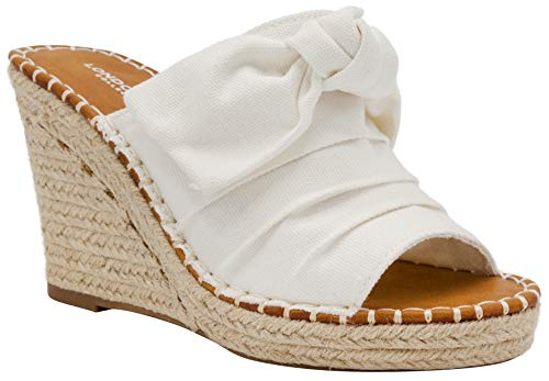 London Fog Womens Heidi Espadrille Wedge Sandals with Knotty Bow Detail 7 White Canvas