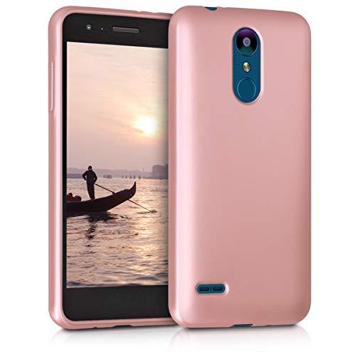 kwmobile Funda Compatible con LG K8 (2018) / K9 - Carcasa móvil de Silicona - Protector Trasero en Oro Rosa Metalizado