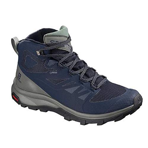 Salomon Men's Outline Mid GTX Hiking Boots, Medieval Blue/Castor Gray/Green Milieu, 10