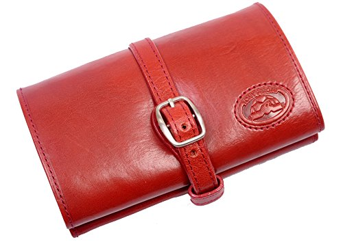 CUSTOM PERSONALIZED INITIALS ENGRAVING Tony Perotti Womens Italian Bull Leather Compact Jewelry Roll Travel Organizer in Red
