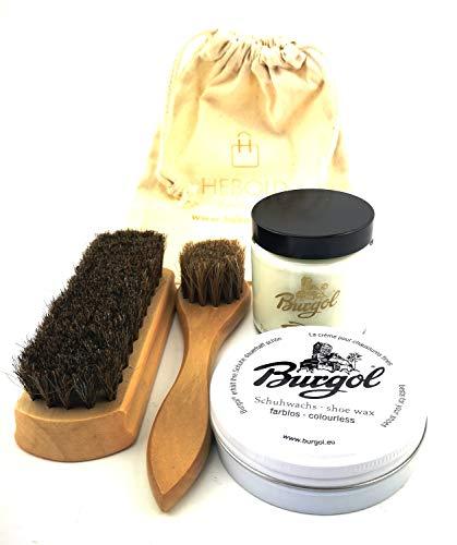 Burgol Schuhpflegeset Schuhwachs und Premium Schuhpomade Baumwollbeutel Eincremebürste und Rosshaarbürste: Farbe: Beige
