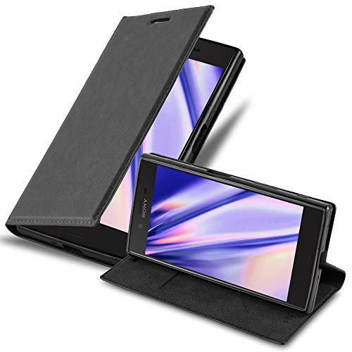 Cadorabo Coque pour Sony Xperia XZ/XZs en Noir Nuit - Housse Protection avec Fermoire Magnétique, Stand Horizontal et Fente Carte - Portefeuille Etui Poche Folio Case Cover