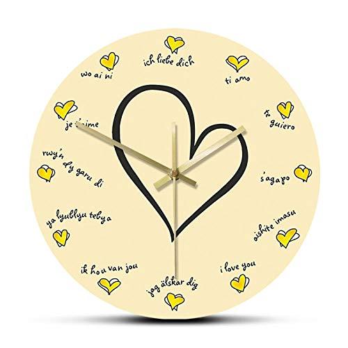 hufeng Reloj de Pared Te Amo en 12 Idiomas Diferentes Encantador silencioso Amandote Reloj de Pared Confesión romántica Reloj Multicolor Regalo de San Valentín