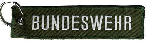 Fan-O-Menal Stoff-Schlüsselanhänger mit Einstickung - Bundeswehr - Gr. ca. 12,5x3cm - 14129 grün