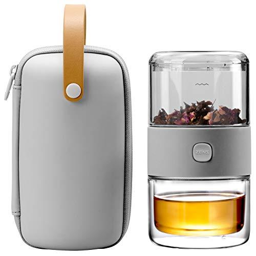 ZENS Reise-Tee-Set, Tritan, tragbares Teesieb, Set für eine Person mit 200 ml doppelwandiger Teetasse für losen Tee, zum Mitnehmen, hellgrau, Reise-Etui für Büro oder Hausarbeit, täglicher Tee