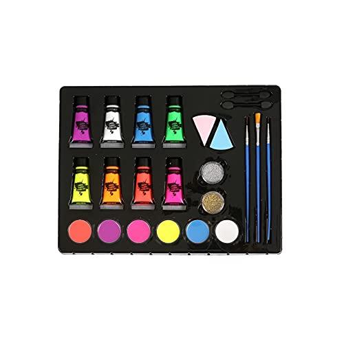 Kit de peinture professionnelle pour le visage Palette de maquillage 50 pochoirs 6 peintures pour le visage 8 peintures néon UV Glow 2 poudres scintillantes 2 éponges 3 pinceaux d'artiste 2 bâtons